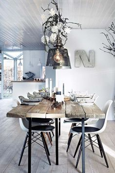A Nordic home filled with Scandi-style Christmas decor ideas Decor, Danish House, Interior, Dining, Dining Table, Table, Home Decor, Open Plan Kitchen, Modern Kitchen Interiors