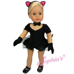 "Black Jazz Leotard & Cat Costume Set for 18"" dolls – Buttons and Bows"
