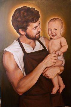 St Joseph Catholic, Catholic Art, Catholic Saints, Joseph Jesus Father, Mary And Jesus, Christian Images, Christian Art, Religious Images, Religious Art