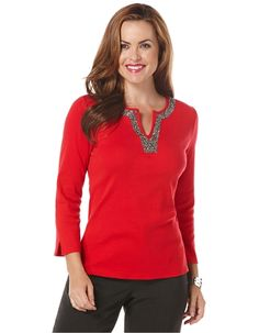 Embellished Split Neck Top from Lord & Taylor on Catalog Spree
