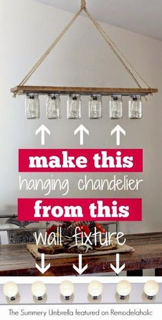DIY-rustic-mason-jar-and-wood-hanging-chandelier-pendant-light-The-Summery-Umbre. - Before After DIY
