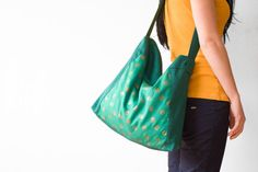 Halloween Skulls Green Hobo Bag Rock Skulls Shopper by moderNest, $30.00