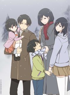 Rivaille (Levi) x Mikasa Ackerman I... I've never even seen this ship but their kids are so cute!!