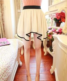 lined to upper thigh level ; chiffon (actual skirt is white) Fits M, S gals Short Skirt White Colour Draped Skirt, Chiffon Skirt, Cute Skirts, Short Skirts, Latest Fashion For Women, Fashion Online, Korean Skirt, Thing 1, Black Trim