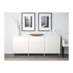 BESTÅ Storage combination w doors/drawers - walnut effect light gray/Selsviken high-gloss/white, drawer runner, push-open, 180x40x74 cm - IKEA
