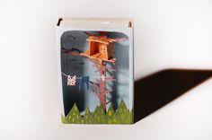 MALIN KOORT illustration in matchbox  Tiny tree-living