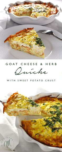 This Goat Cheese & Herb Quiche with Sweet Potato Crust solves the problem of the calories from the crust as well as cutting the gluten. Goat Cheese Recipes, Quiche Recipes, Brunch Recipes, Breakfast Recipes, Vegetarian Recipes, Cooking Recipes, Healthy Recipes, Paleo Quiche, Paleo Breakfast