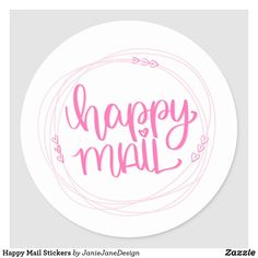 Shop Happy Mail Stickers created by JanieJaneDesign. Thank You Stickers, Cute Stickers, Pretty Packaging, Pink Zebra, Happy Mail, Snail Mail, Mail Art, Modern Calligraphy, Color Street