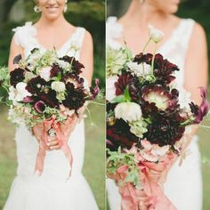 Flower Power Rich deep-hued blooms take on a romantic quality when mixed with rustic greens and traditional white florals
