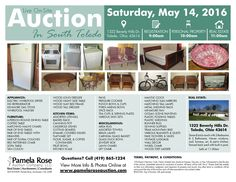 Live Personal Property Auction in South Toledo! Furniture, Kitchenware, Appliances, & More! 1322 E. Beverly Hills Dr. Toledo, OH 43614 Sat. May 14, 2016 at 10:00am Preview & Registration Opens at 9:00am Real Estate Sell at 11:00am  View more information at http://www.pamelaroseauction.com/personal-property-2/ Questions? Call 419-865-1224 Pamela Rose Auction Co. LLC #PamelaRoseAuction