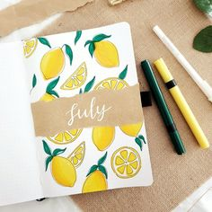 How To: Lemon Theme + 5 Fun Tropical Themes For The Summer! – Archer and Olive Bullet Journal Cover Ideas, Bullet Journal Notebook, Bullet Journal School, Bullet Journal Spread, Bullet Journal Ideas Pages, Journal Covers, Bullet Journal Inspiration, Journal Pages, Kalender Design