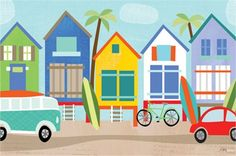 Surf Shacks Canvas Reproduction
