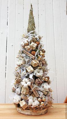 Купить Настольная елочка с хлопком - бежевый, настольная елка, елка, Новый Год, рождество, подарок