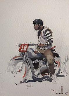 Heading Into 2018 by Daniel Marshall, Watercolor, 15 x 10 Motorcycle Posters, Motorcycle Art, Bike Art, Bike Drawing, Garage Art, Illustration, Cycling Art, Motocross, Watercolor Paintings