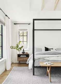 For a neutral, minimalist palette, try gray and white furnishings for your bedroom. Look for neutral bedding and a rug to complement it. Here are 17 beautiful gray and white combinations. Modern Bedroom Design, Master Bedroom Design, Home Decor Bedroom, Bedroom Furniture, Bedroom Ideas, Contemporary Bedroom, Master Bedrooms, Bedroom Curtains, Furniture Ideas