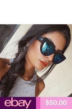 7dbed17a35442 Stunning  readysetglamour  in the Quay KITTI Sunglasses Black Blue Mirror