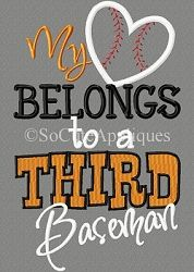 My Heart Belongs to a 3rd Baseman Applique - 6x10 | What's New | Machine Embroidery Designs | SWAKembroidery.com So Cute Appliques