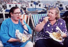 It's the Two Fat Ladies, living my dream, fish and chips by the sea.