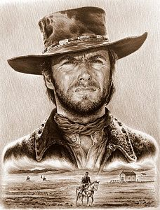 Clint Eastwood The Stranger Art Print by Andrew Read