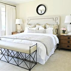 A gorgeous, classic bedroom, Benjamin Moore Lancaster Whitewash