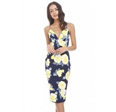 11 Cute & Sexy AxParis Summer Dresses Under $35: Cute navy blue-yellow floral print bodycon midi summer dress with sexy V-neck by AxParis