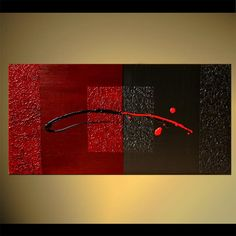 Black Red Abstract Painting Original Contemporary by OsnatFineArt