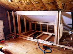 Built in Beds in Attic | the frame work for a built in bed | For the Home #atticremodel,design,kidsplayroom