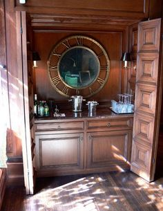 Nice thought:) I also like the idea of converting our armoire to a coffee wine bar station:) Steampunk Bedroom, Steampunk House, Steampunk Clock, Steampunk Design, New York Bedroom, Kips Bay Showhouse, Master Bedroom Closet, Bar Areas, Panel Doors