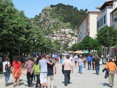 Rruga Antipatrea is the main pedestrian promenade in Berat, Albania. Pedestrian, Albania, Maine, Southern, Street View