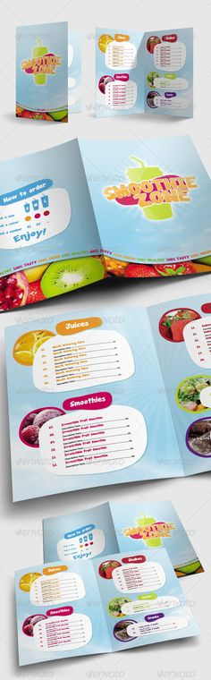 Juice and Smoothie Menu - Smoothie Zone - Food Menus Print Templates Download here : http://graphicriver.net/item/juice-and-smoothie-menu-smoothie-zone/1731117?s_rank=1483&ref=Al-fatih