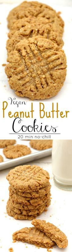 Vegan Peanut Butter Cookies are great for holiday baking! These soft irresistible cookies are bursting with peanut butter flavor. A classic cookie that will disappear fast! Plus they're egg free, dairy free, refined-sugar free and made with fresh ground p
