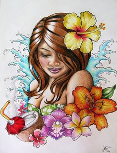 Polynesian Girl Art | Hawaiian Hula Girl Tattoo Design by Frosttattoo