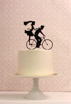 Wedding Cake Topper with Bride and Groom Silhouettes on Bike - Bicycle Silhouette Cake Topper