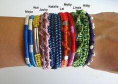 Double Wrap Macrame Bracelet in Purple and Aqua and por MaisJewelry