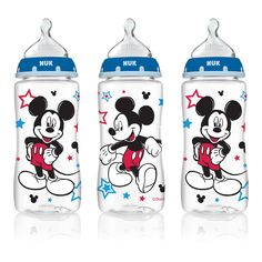 NUK Disney Orthodontic 10 Ounce Bottles with Medium Flow Silicone Nipples 3 Pack - Mickey Mouse