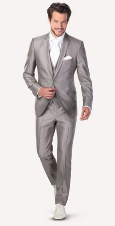grey wedding suit shiny material is perfect for such a special occasion