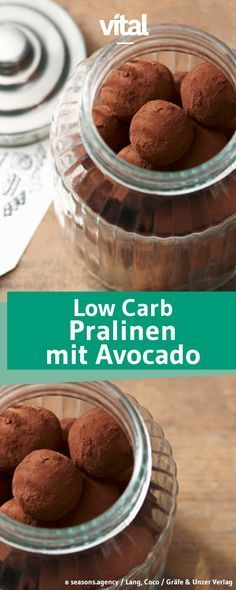 DIY: Gesunde Pralinen Healthy chocolates – without sugar and the precious fat of avocado – try this quick recipe for low carb chocolate avocado chocolates! Avocado Dessert, Paleo Dessert, Low Carb Sweets, Healthy Sweets, Low Carb Desserts, Healthy Baking, Healthy Food, Low Carb Chocolate, Healthy Chocolate
