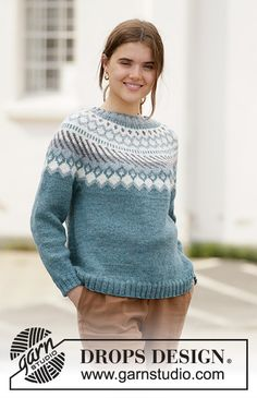 Crisp air sweater / DROPS - free knitting patterns by DROPS design Knitted sweater with round yoke and Nordic pattern in DROPS Karisma. The piece is worked top down. Sizes S - XXXL. Jersey Jacquard, Pull Jacquard, Drops Design, Fair Isle Knitting, Free Knitting, Sweater Knitting Patterns, Crochet Patterns, Motif Fair Isle, Blouse