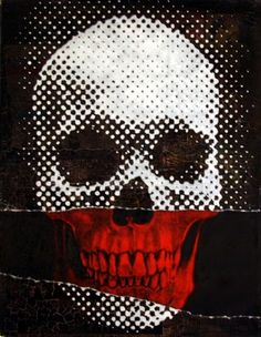 Black, white red Pixel Skull, pop art, illustration.