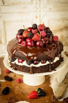 Yummy, country feel..chocolate cake covered in berries