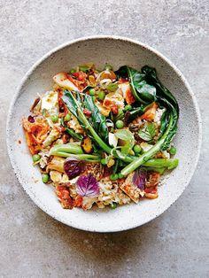 kimchi and tofu fried brown rice | donna hay