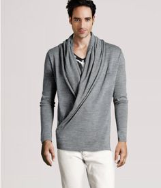 """Description    Fine-knit wraparound cardigan with a shawl collar and fastener at the hem. Length 29""""/74 cm    Details    50% wool, 50% acrylic. Machine wash at 30˚    Art.No. 88-3064"""