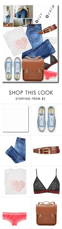 """""""Dear Denim"""" by emcf3548 ❤ liked on Polyvore featuring Citizens of Humanity, John Lewis, Versace, Victoria's Secret and The Cambridge Satchel Company"""