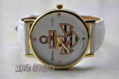 Anchor Watch Golden Watch White Leather Women Watches by GiftShow, $6.99 Anchor Watch, Golden Watch, White Leather, Women Watches, Unisex Watch, Boyfriend Watch