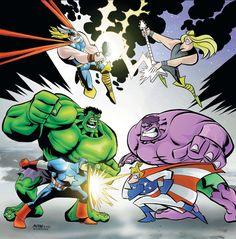 avengers vs justice friends//Michael Avon Oeming/O/ Comic Art Community GALLERY OF COMIC ART