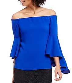 WAYF Sundown Off-The-Shoulder Bell Sleeve Solid Top