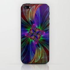 Digital flower multicolored iPhone & iPod Skin by Christine baessler - $15.00