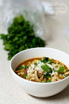 Southwest Chicken Chili - I made it without the corn or pasta and served it over rice. It was tasty! Entree Recipes, Chili Recipes, Soup Recipes, Chicken Recipes, Healthy Recipes, Southwest Chicken Soup, Chicken Chili, I Love Food, Good Food