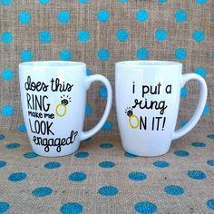Funny Engagement Coffee Mug Set Does This Ring by Hinzpirations