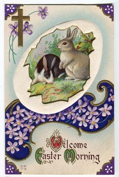 ANTIQUE EASTER POSTCARD TWO BUNNY RABBITS VIOLETS 1914